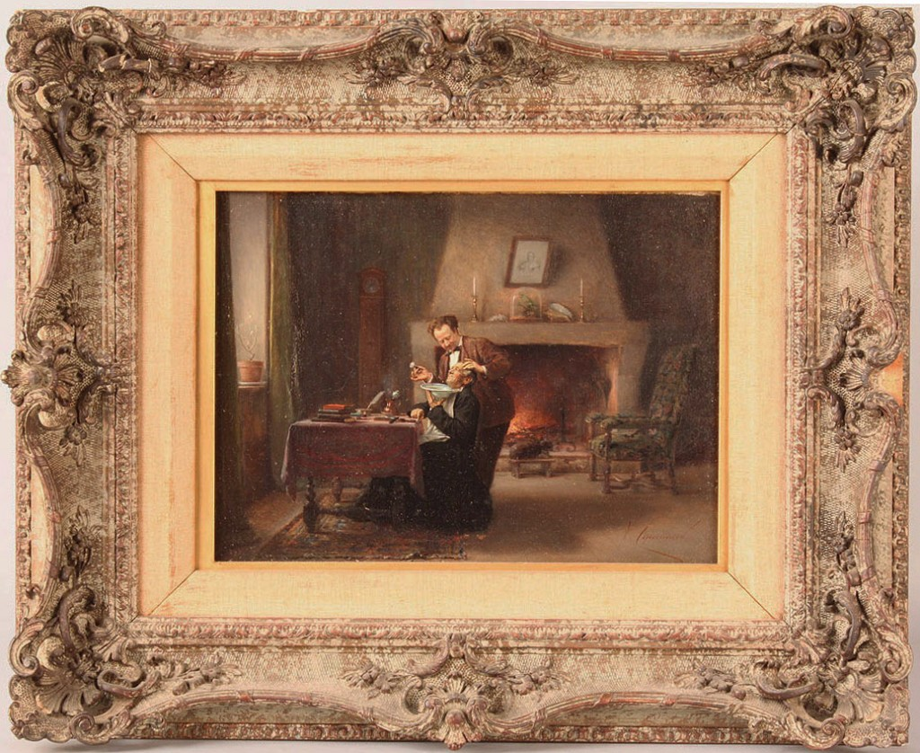 Lot 174: Vincent Chevilliard oil on board, Man being shaved