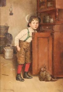 Lot 175: Edmund Adler oil on canvas, Boy with cat