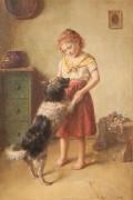 176: Edmund Adler oil on canvas, Girl with dog