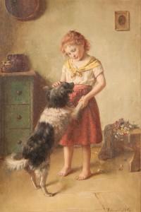 Lot 176: Edmund Adler oil on canvas, Girl with dog
