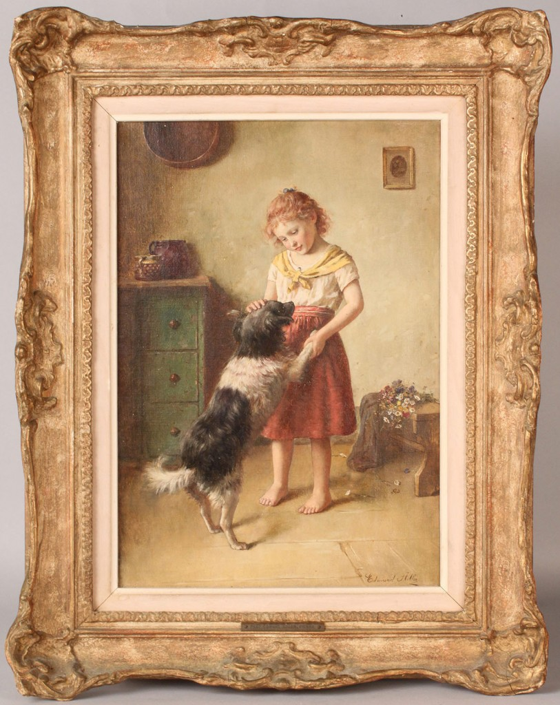 Lot 176: Edmund Adler oil on canvas, Girl with dog