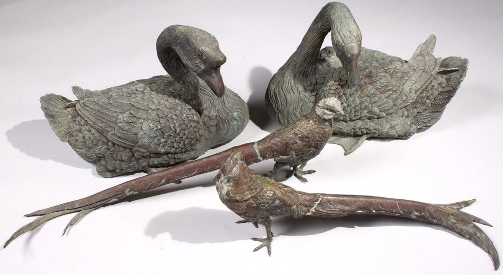 Lot 181: Pair Austrian Bronze Pheasants and Bronze Geese