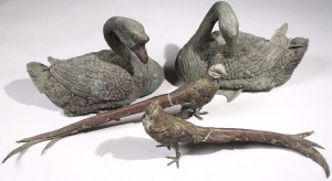 Lot 181: Pair Austrian Bronze Pheasants and Bronze Geese