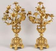 182: Pair of gilt bronze candelabra