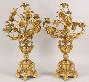 Lot 182: Pair of gilt bronze candelabra