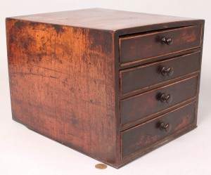 Lot 192: Small English Mahogany 4 Drawer Cabinet