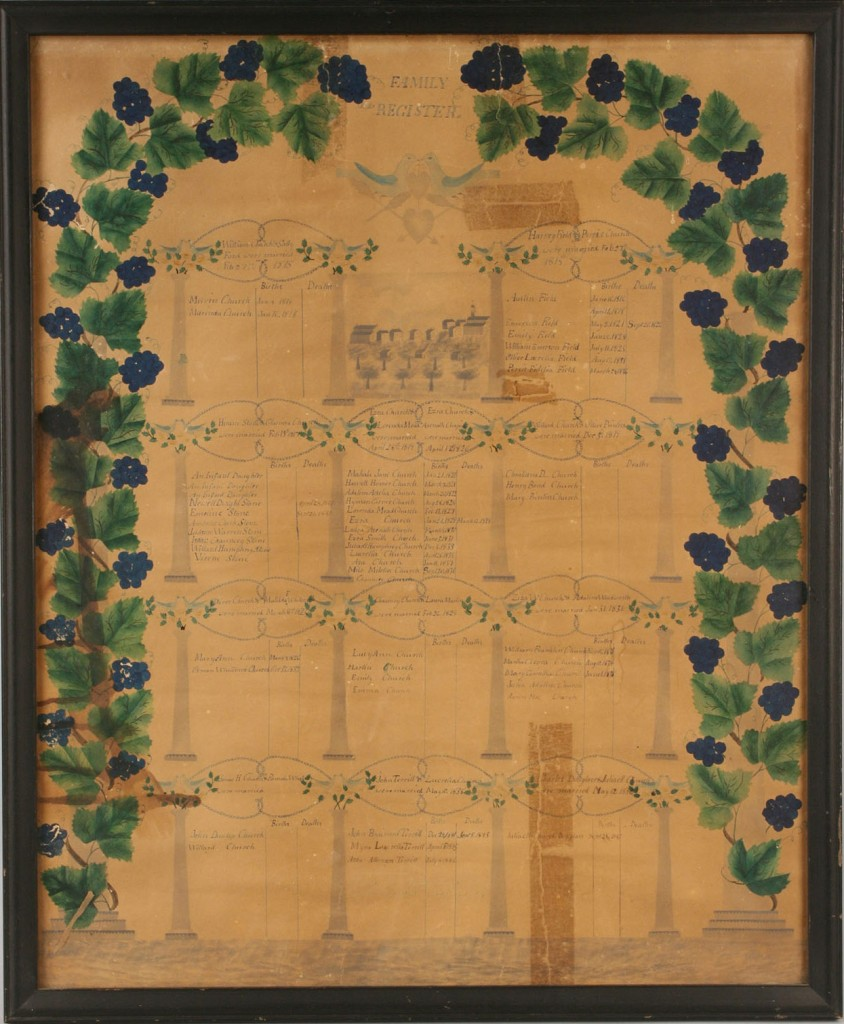 Lot 193: Watercolor Family Register, c.1850