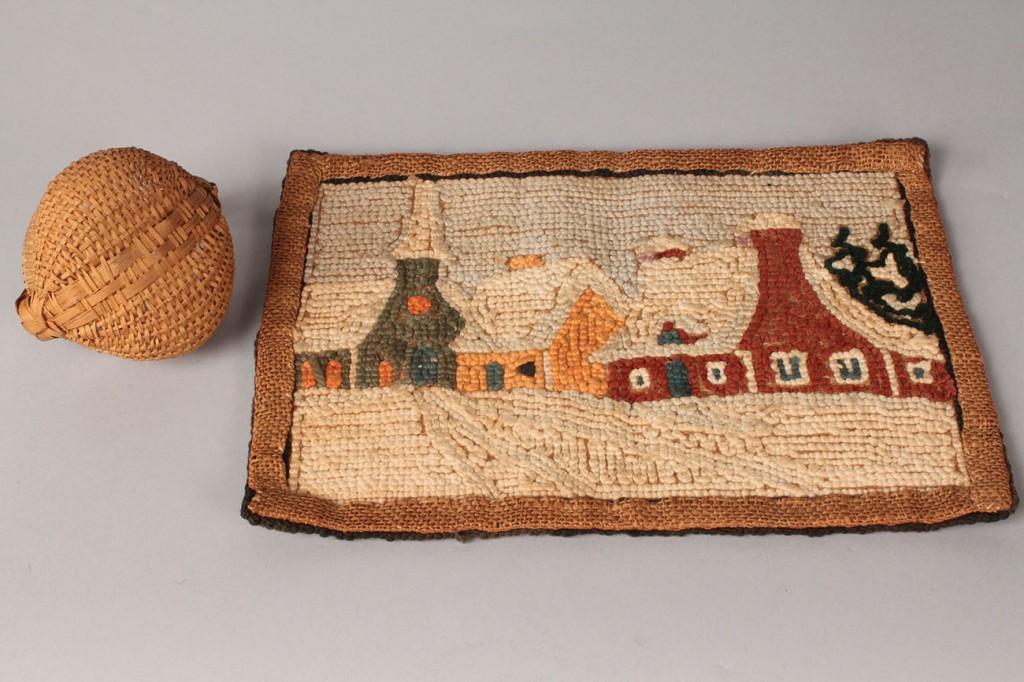 Lot 194: KY Miniature Basket, Hooked Rug, 2 Small Landscape