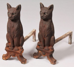 Lot 198: Pair of Cast Iron Cat Andirons