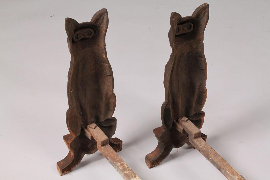 Lot 198: Pair of Cast Iron Cat Andirons