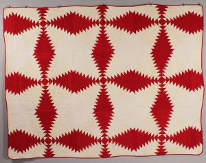 Lot 200: Southern Red & White Pieced Quilt, possibly East T