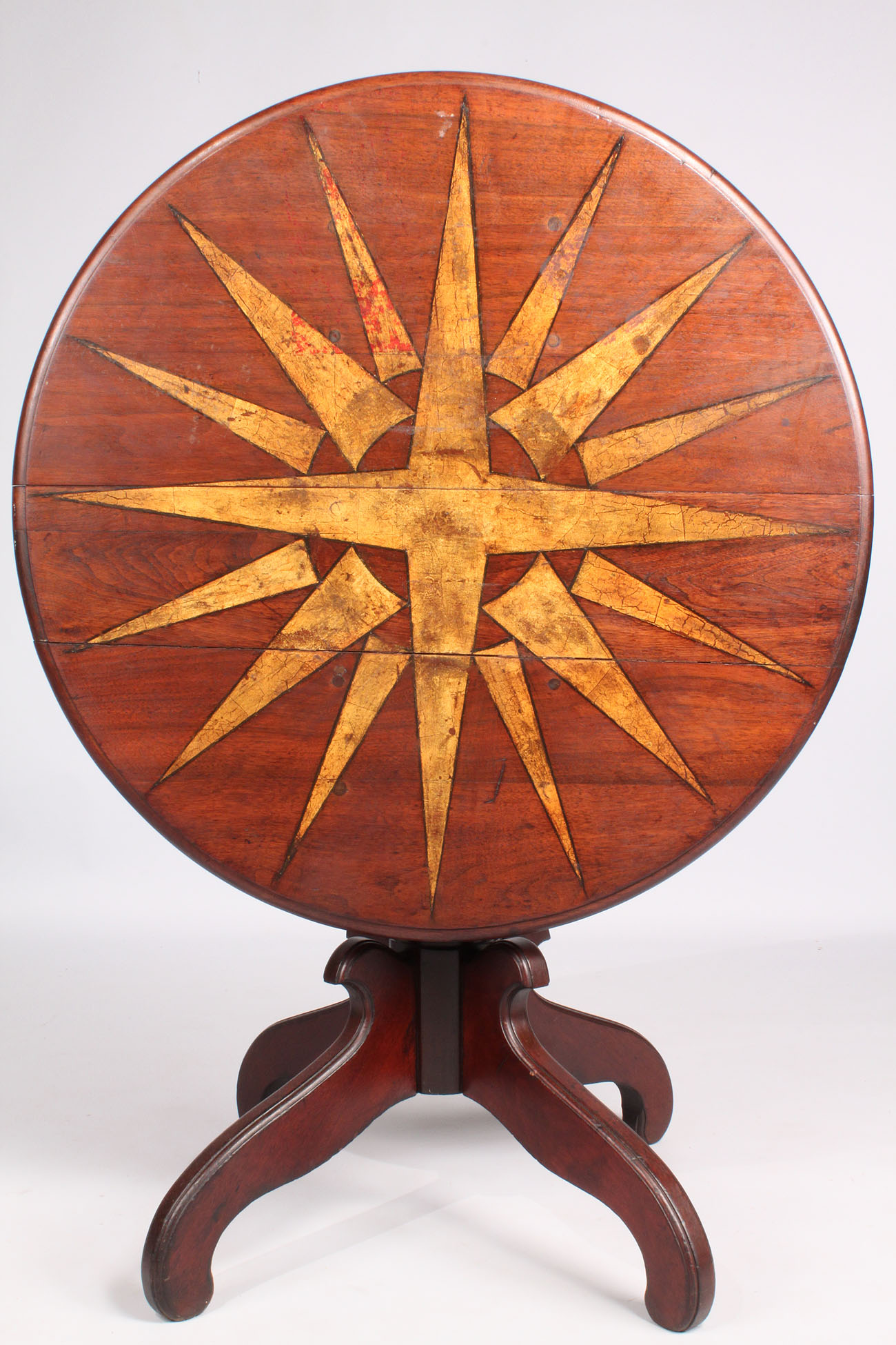214: Tilt-top Walnut Table with Painted Compass Star