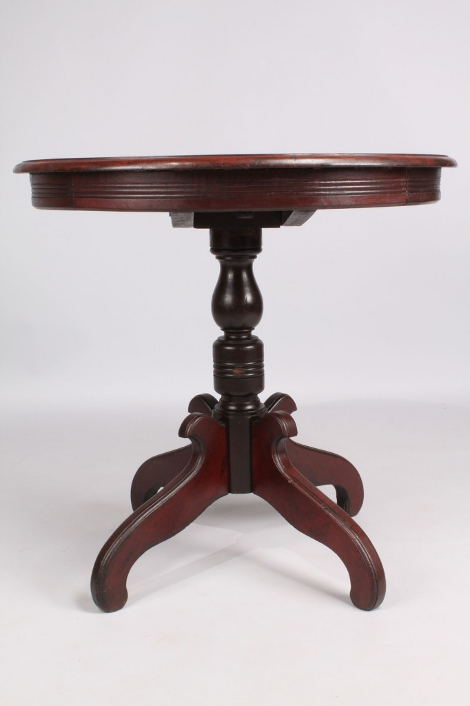 Lot 214: Tilt-top Walnut Table with Painted Compass Star