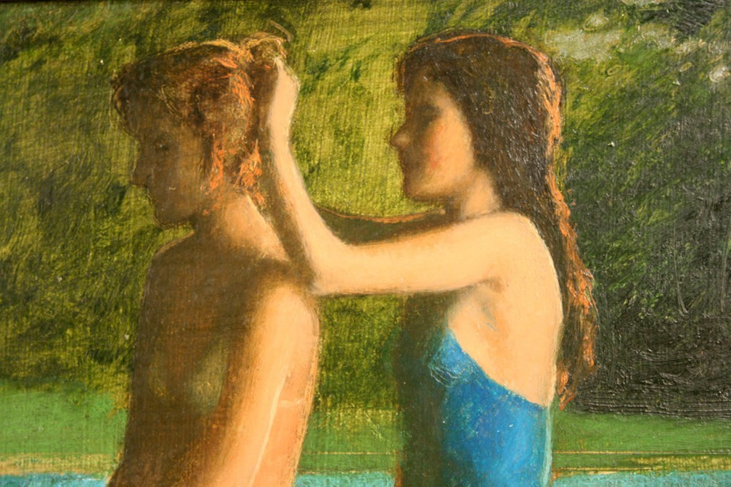 Lot 21: Bo Bartlett, Oil on Board, Girls by a Pool