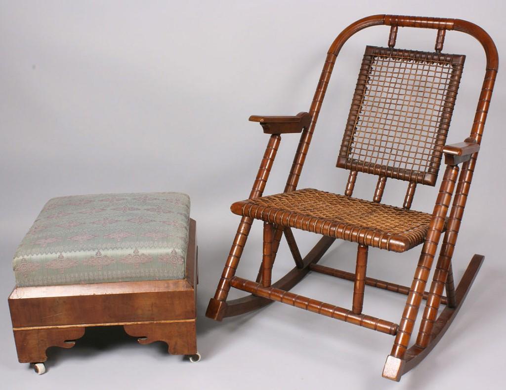 Lot 220: Hunzinger Rocking Chair & Classical Stool