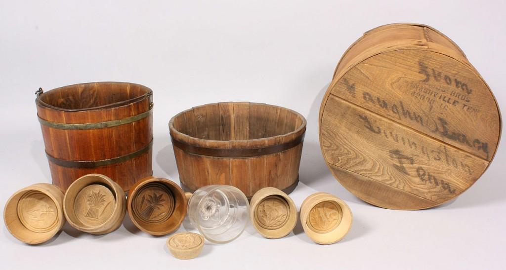 Lot 221: Lot of 9 Primitive Wood Items, Buckets, Butter Mol