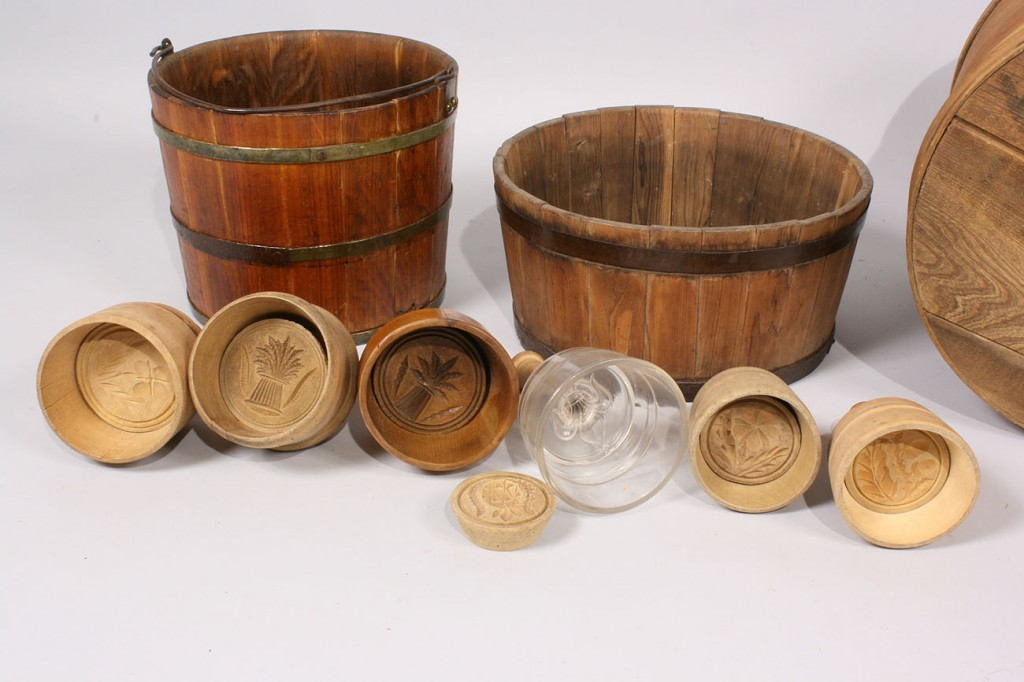 Lot 221: Lot of 9 Primitive Wood Items, Buckets, Butter Mol