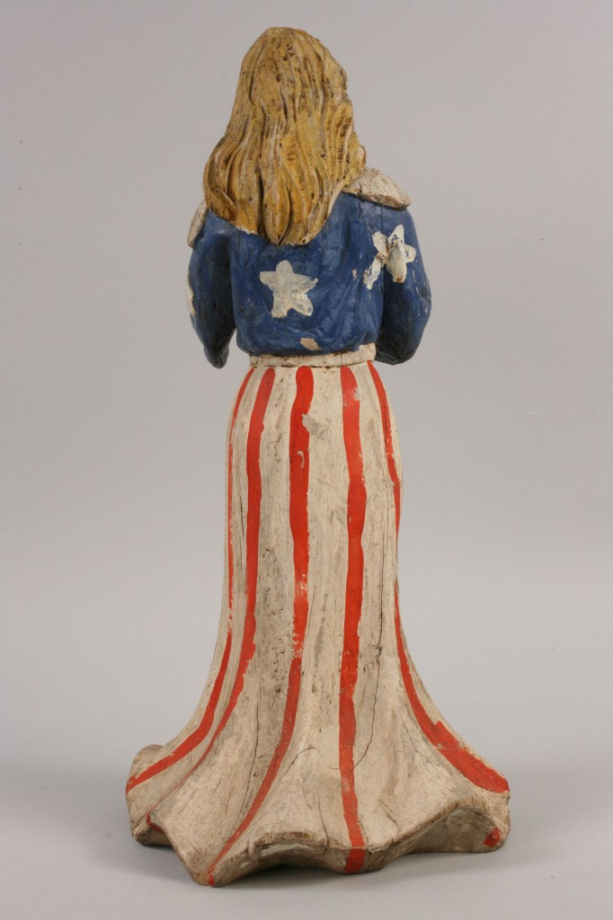 Lot 222: 2 Folk Art Wood Figures, Lady Liberty and Gazelle