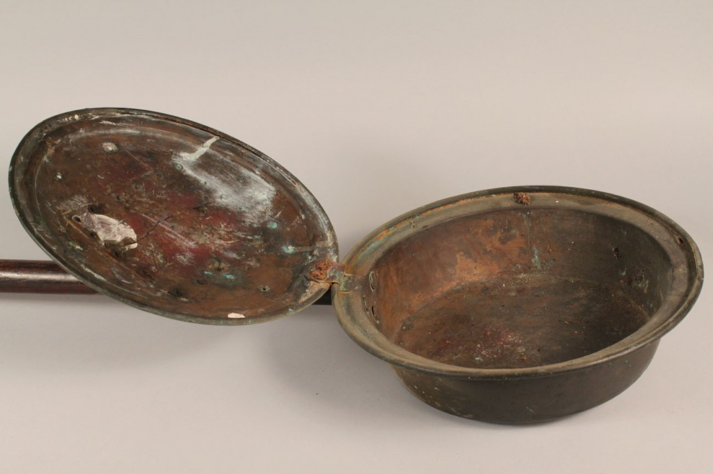 Lot 223: Tin candle molds, bedwarmer & other primitives, lo