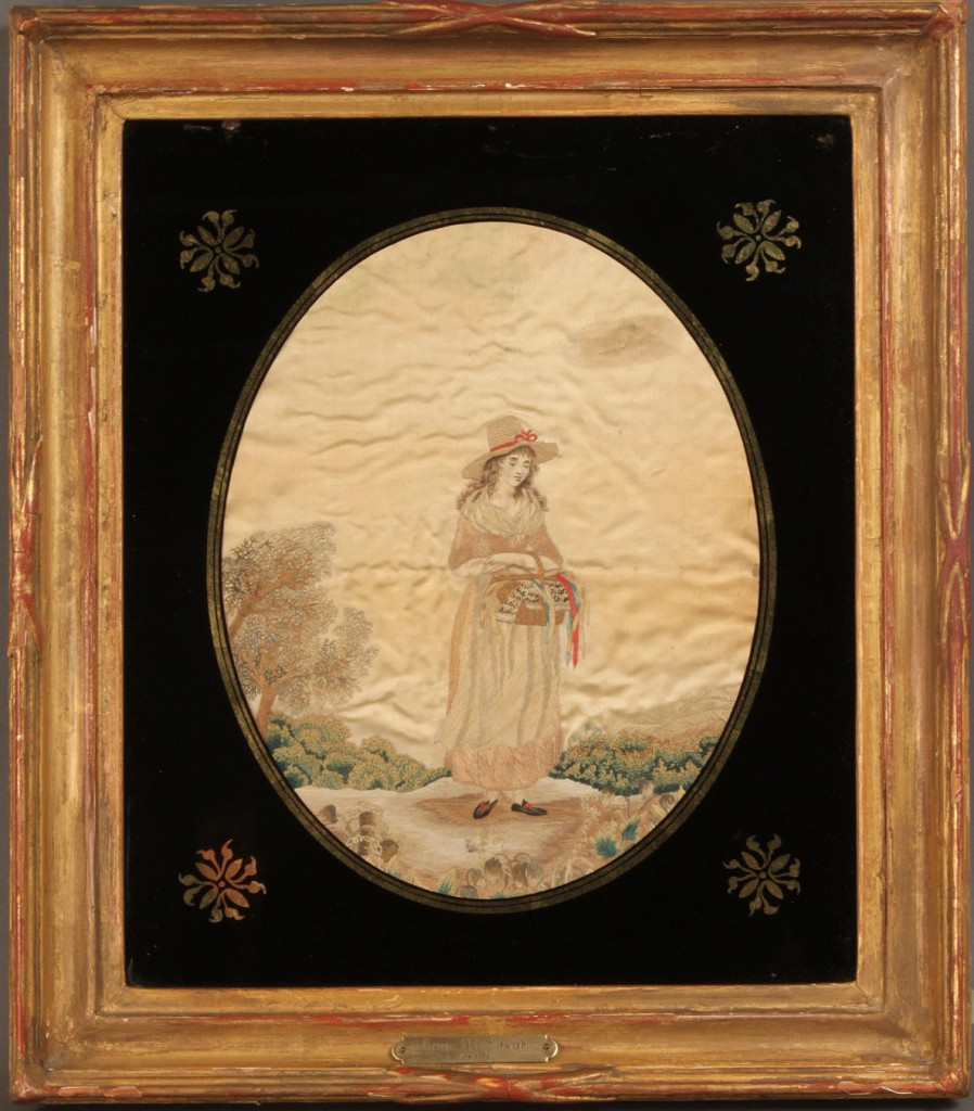 Lot 224: Embroidered Silk Work Picture, English School