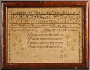 Lot 226: Massachusetts Needlework Sampler, 1830, Caroline L