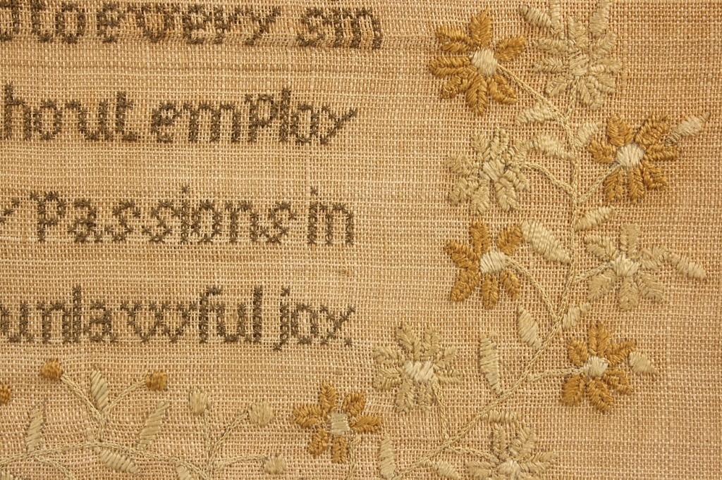 Lot 226: Massachusetts Needlework Sampler, 1830, Caroline L