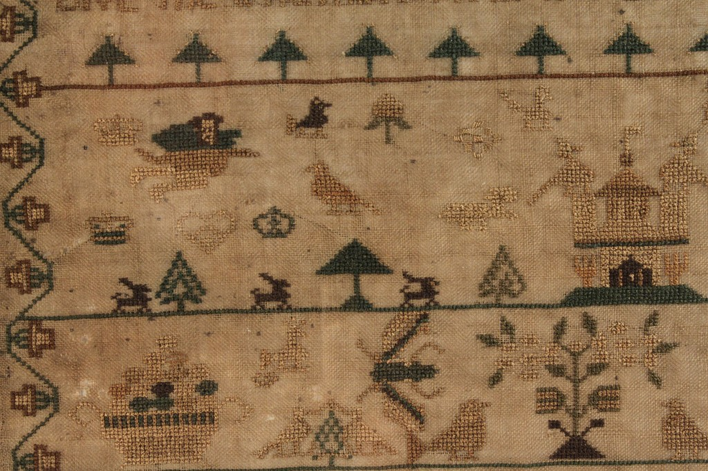 Lot 228: Adam and Eve Pictorial Sampler