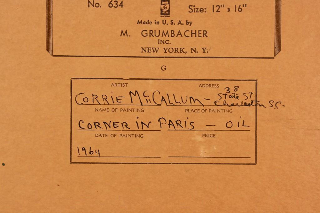 Lot 22: Corrie McCallum oil on board, Paris Street
