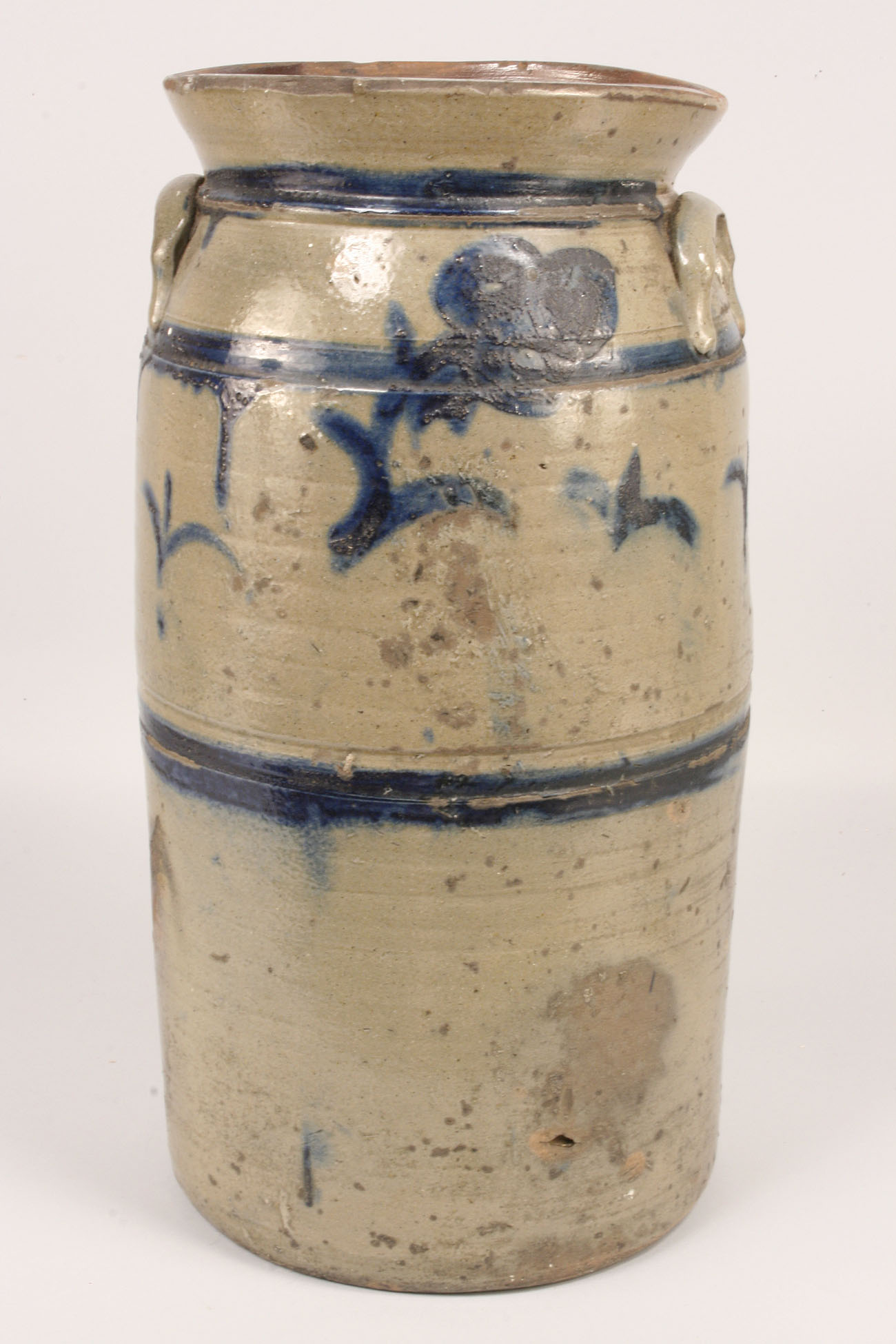 Lot 230: E. TN Stoneware Churn, Cobalt Decoration, poss. G