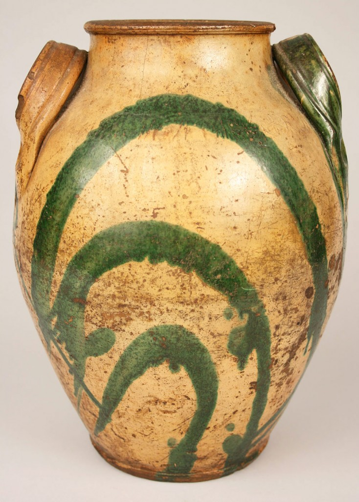 Lot 231: East Tennessee Redware Jar, C.A. Haun
