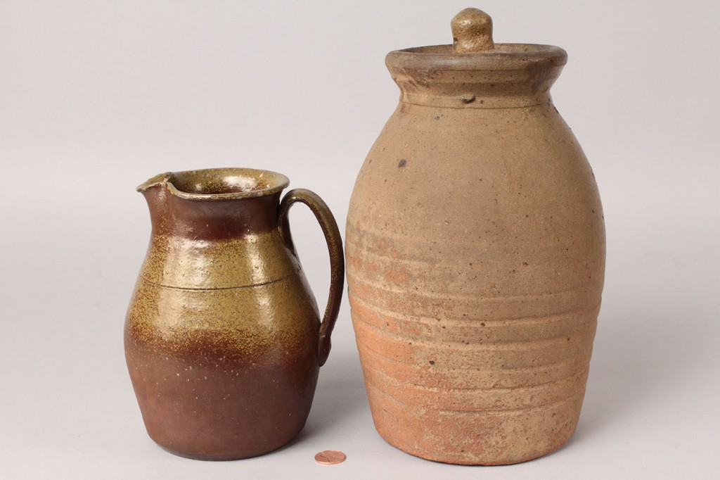Lot 236: Middle TN Stoneware cream pitcher & jar