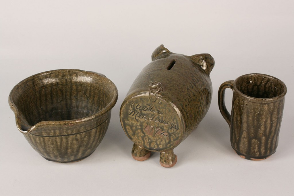 Lot 246: Lot of 3 Cleater Meaders Folk Pottery Items