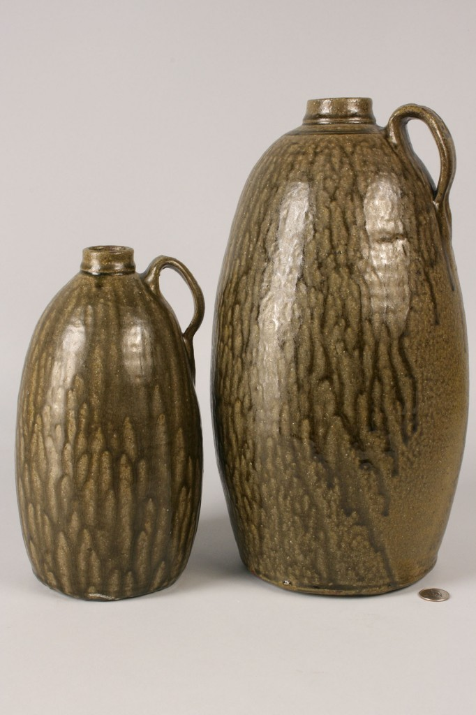 Lot 247: Lot of 2 Matthew Hewell Folk Pottery Jugs
