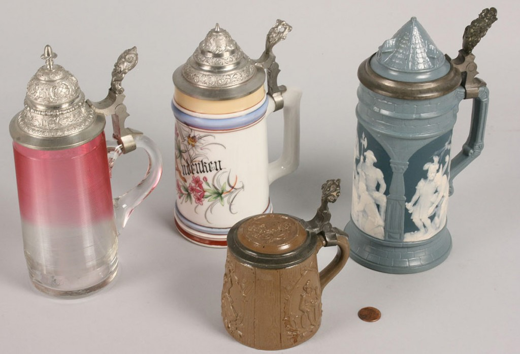 Lot 251: Lot of 4 Beer Steins. 2 German