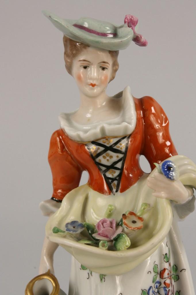 Lot 257: Pr of Sitzendorf Figurines & Dresden candlestick