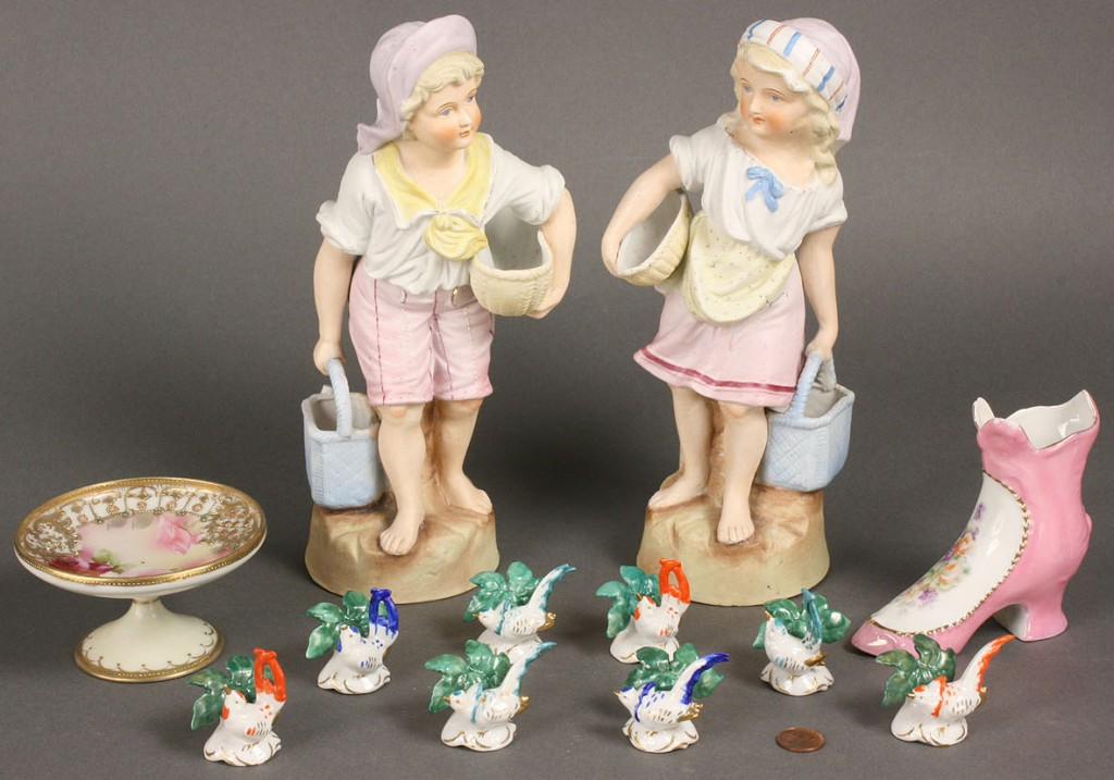 Lot 258: Twelve German and Nippon porcelain figures
