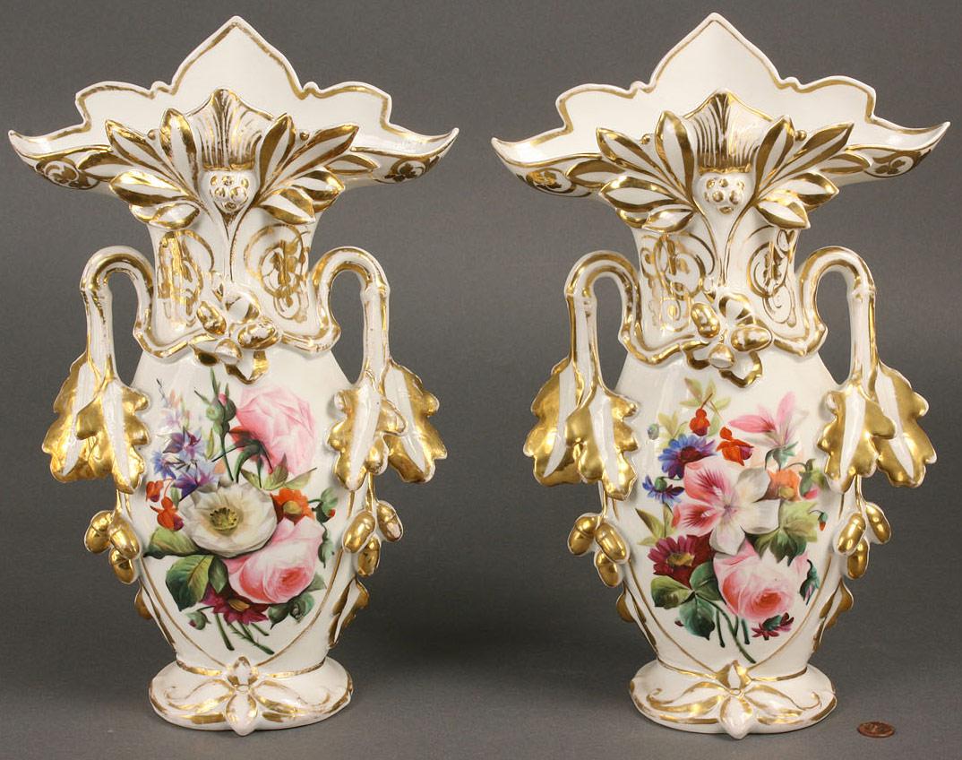 Lot 259: Pair of large Old Paris Porcelain Vases