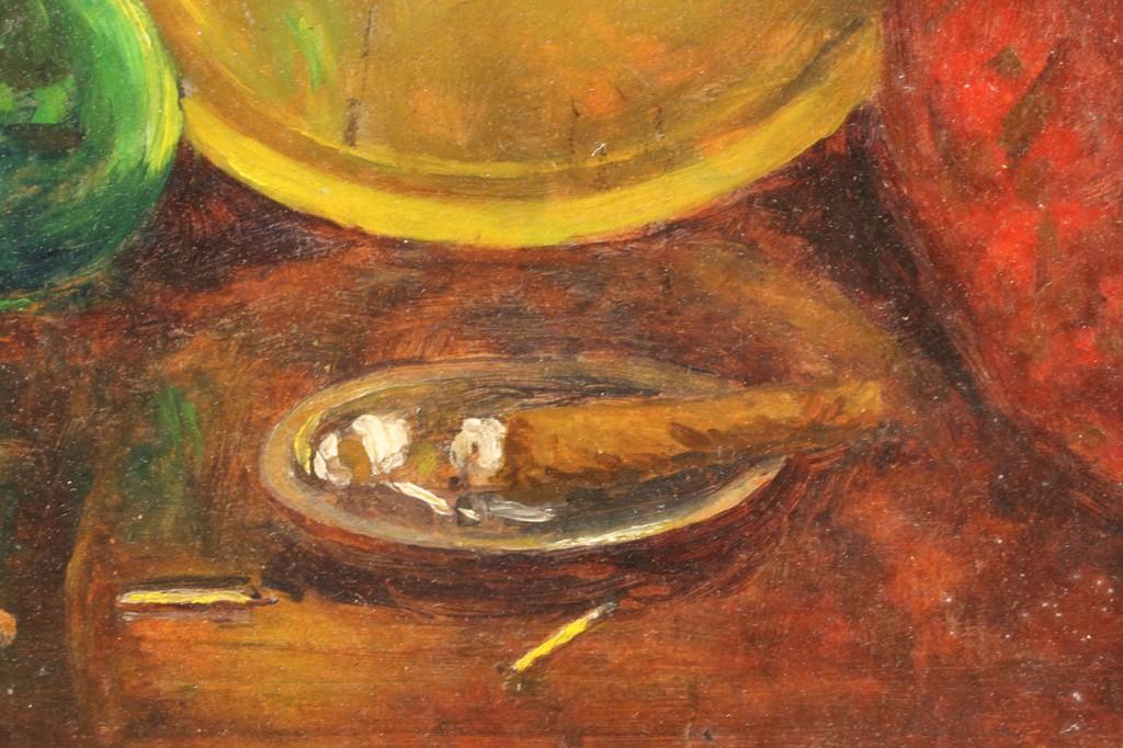Lot 25: Cornelius Hankins, oil on board still life with cig