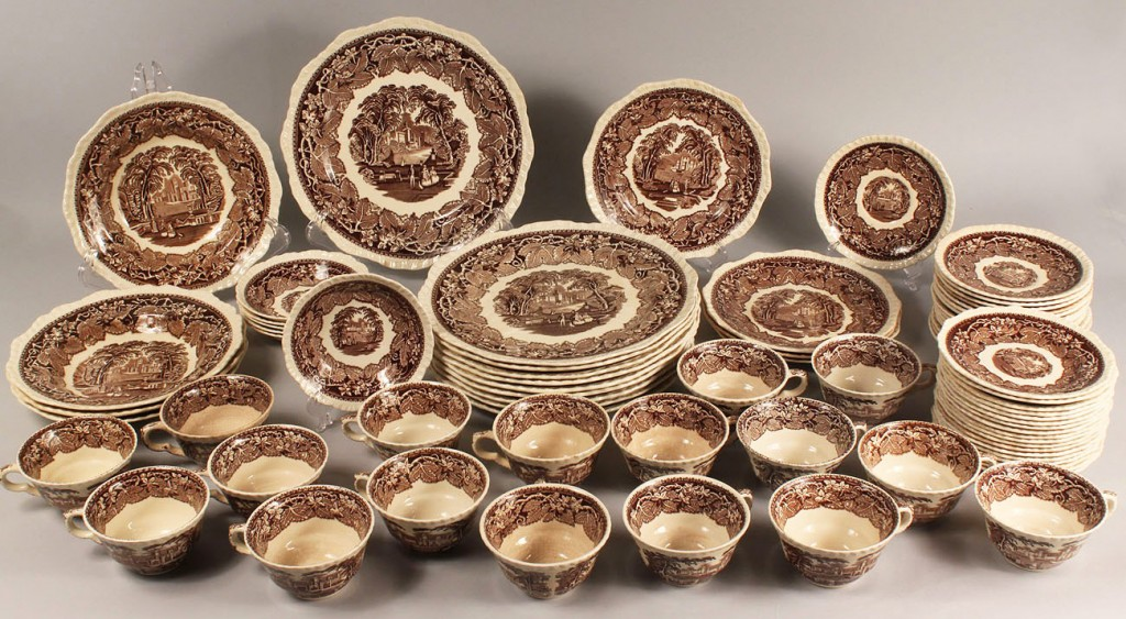 Lot 262: Mason's Vista Dinnerware in Brown 75 pcs