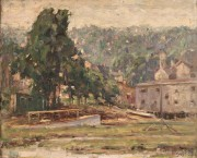 268: American School Oil on Board Landscape, Signed