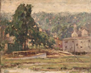 Lot 268: American School Oil on Board Landscape, Signed