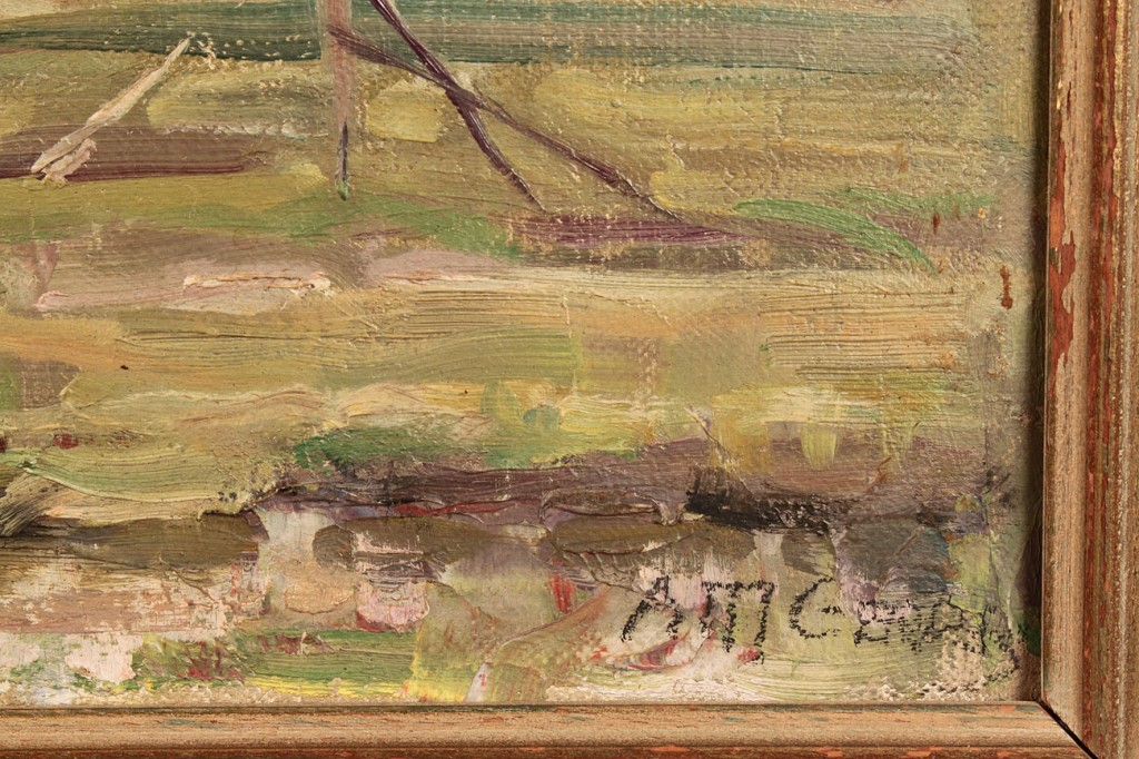 Lot 268: American School Oil on Board Landscape, Signed