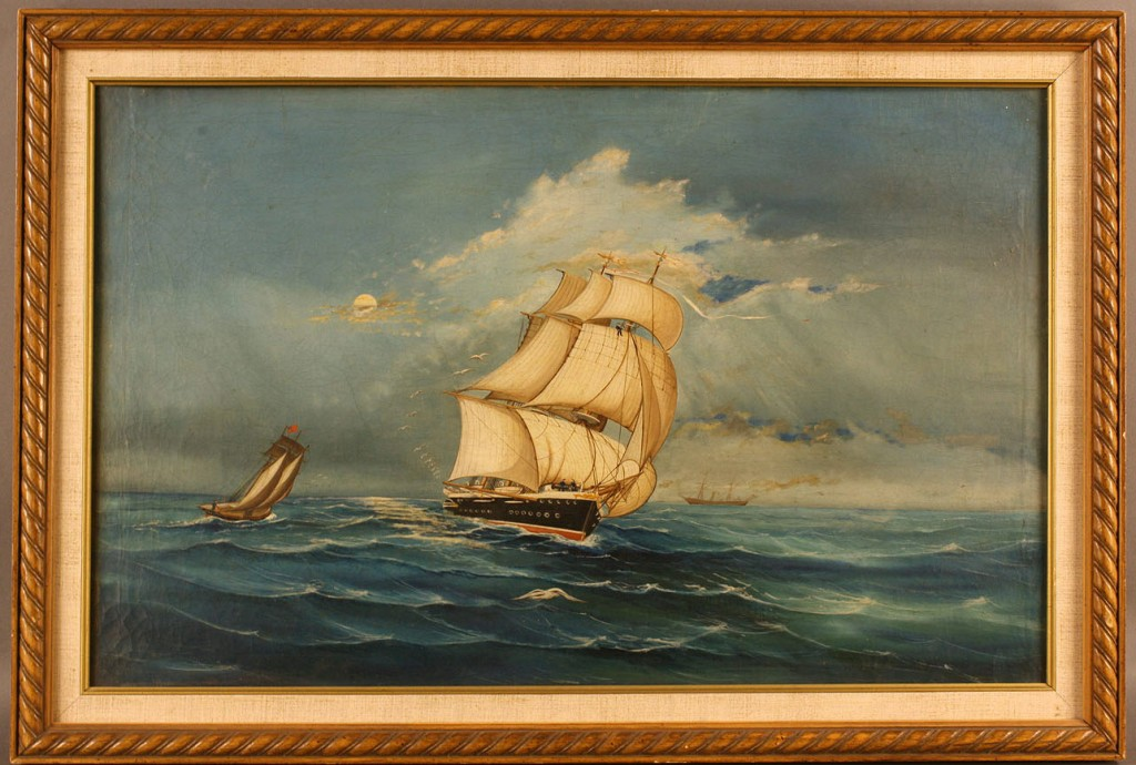 Lot 270: American School oil ptg, Nautical Scene