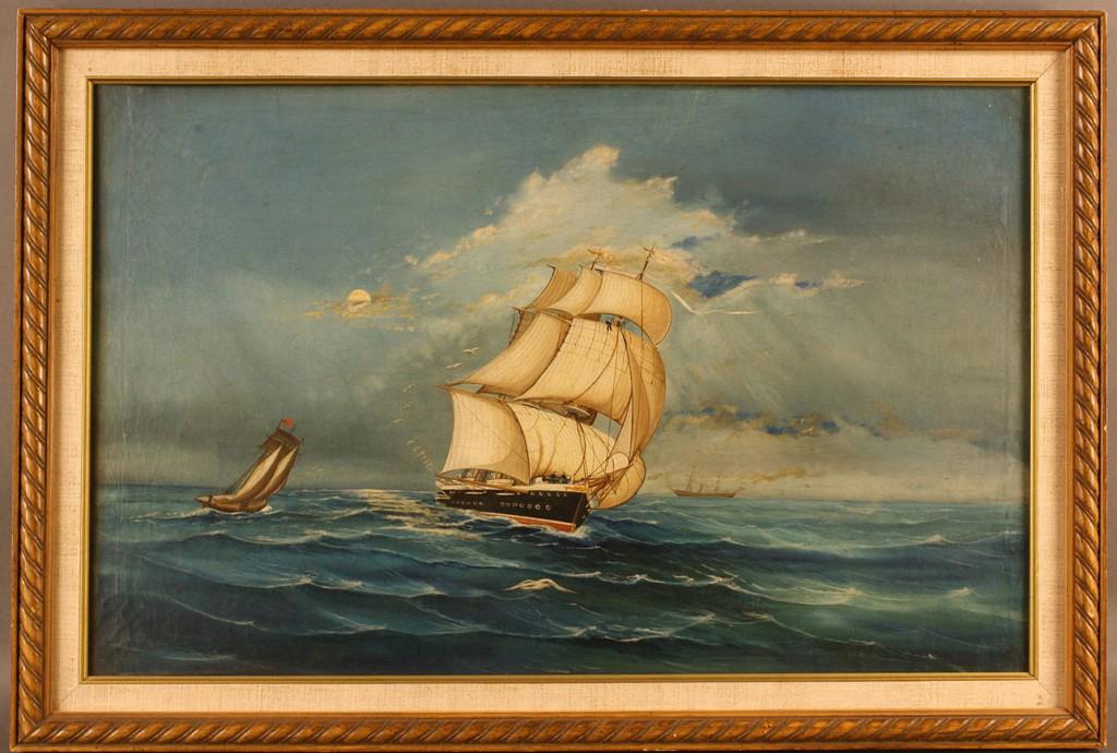Lot 270: American School oil ptg, Nautical Scene