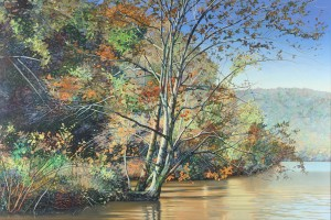 Lot 277: Edward Kellogg oil painting, Autumn lake scene