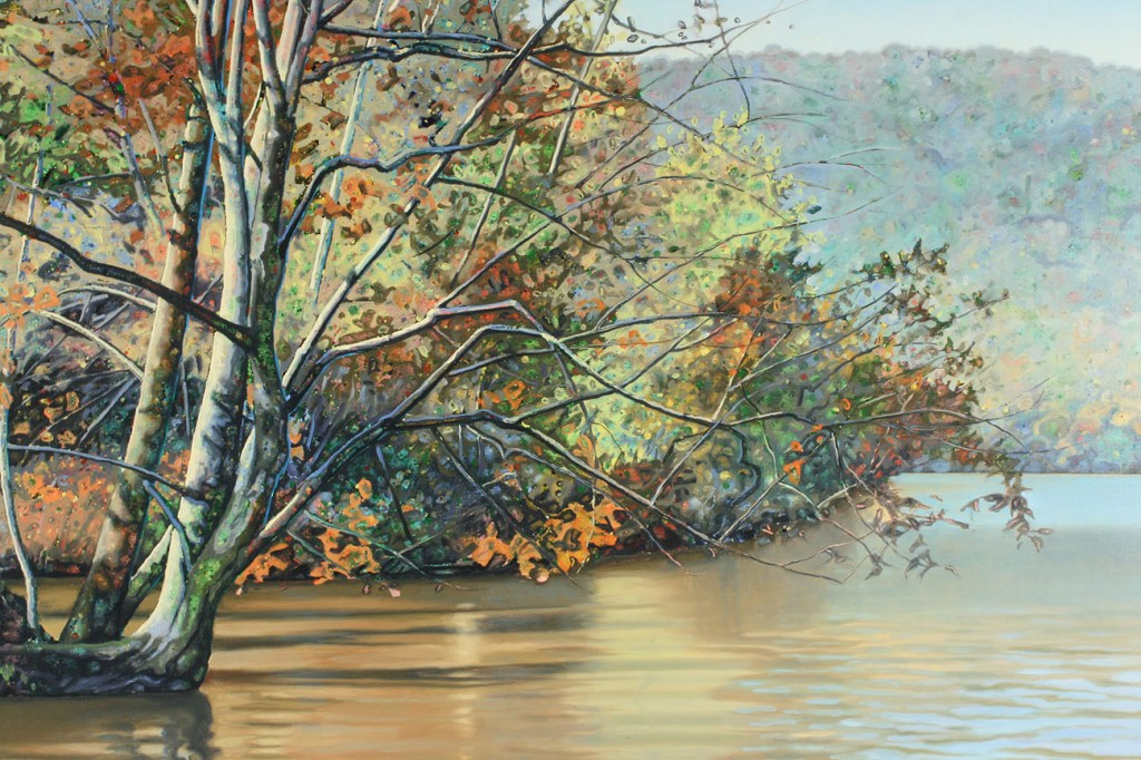 Lot 277: Edward Kellogg oil painting, Autumn lake scene
