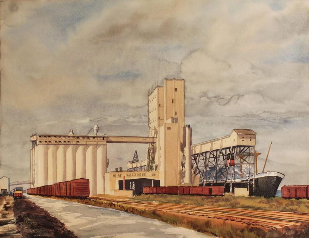 Lot 27 Kenneth Harris Norfolk Va Watercolor Of Grain Ele