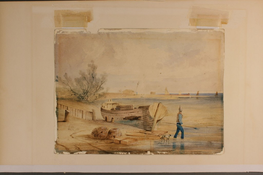 Lot 282: English marine watercolor, attr. Anthony Fielding