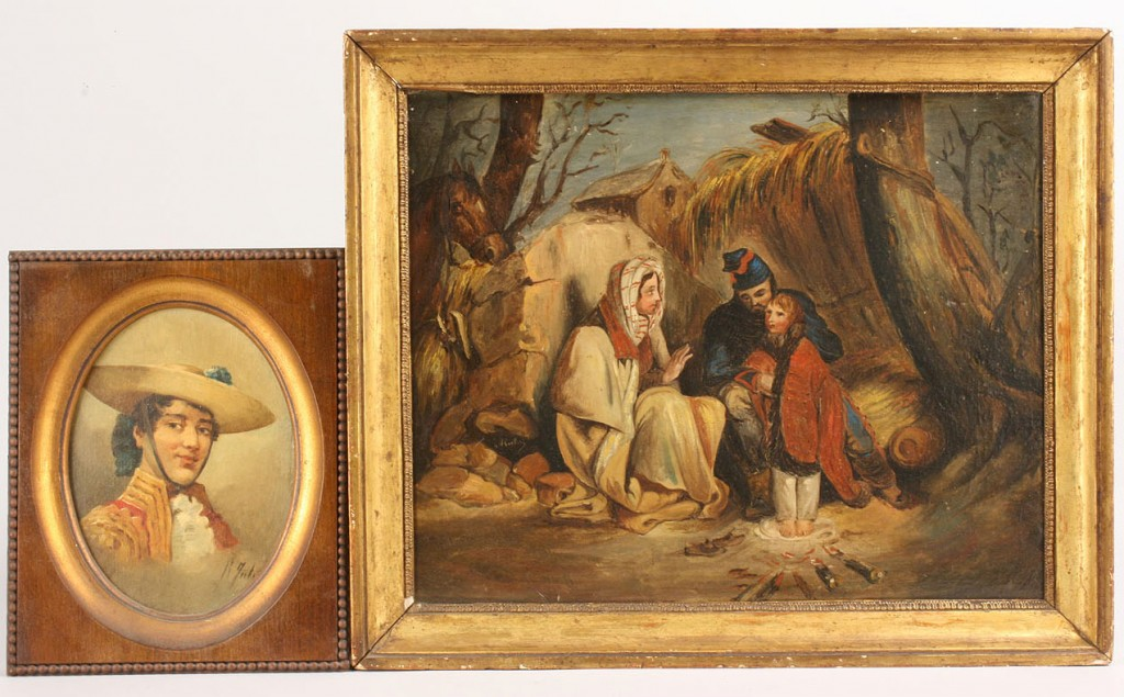 Lot 285: Lot of 2 Oil Paintings of European Figures