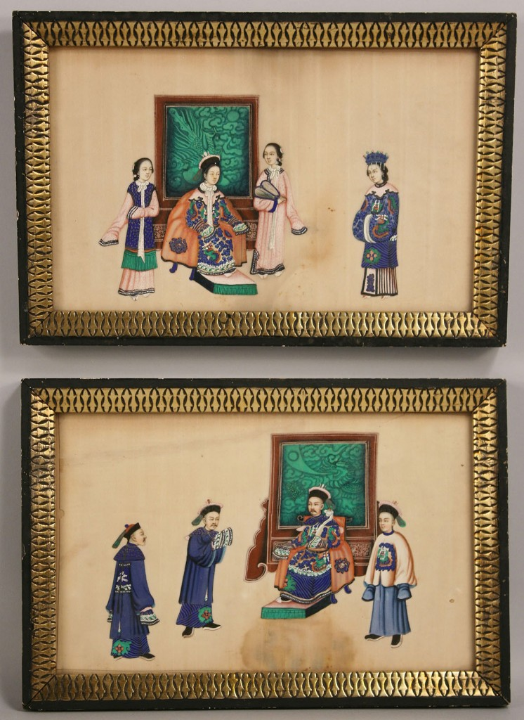 Lot 286: Pair Chinese paintings on silk